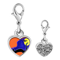 Link Charm Bracelet - 925  sterling silver black cat and bat photo heart frame link charm Image.