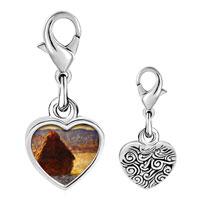 Link Charm Bracelet - 925  sterling silver monet wheatstack photo heart frame link charm Image.