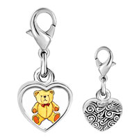 Link Charm Bracelet - 925  sterling silver teddy bear red bow photo heart frame link charm Image.