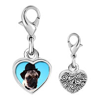 Link Charm Bracelet - 925  sterling silver pug dog in a derby hat photo heart frame link charm Image.