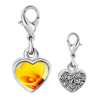 Link Charm Bracelet - 925  sterling silver yellow calla lily flower photo heart frame link charm Image.