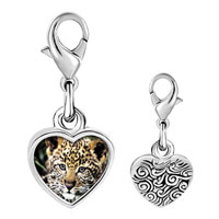 Link Charm Bracelet - 925  sterling silver baby leopard cub photo heart frame link charm Image.