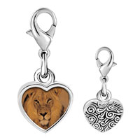 Link Charm Bracelet - 925  sterling silver king of the jungle lion photo heart frame link charm Image.