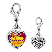 Link Charm Bracelet - 925  sterling silver birthday cake with candles photo heart frame link charm Image.