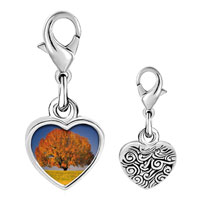 Link Charm Bracelet - 925  sterling silver tree in autumn photo heart frame link charm Image.