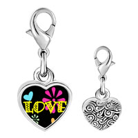 Link Charm Bracelet - 925  sterling silver love hearts and flowers photo heart frame link charm Image.