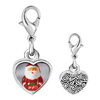 Link Charm Bracelet - 925  sterling silver santa clause got gift photo heart frame link charm Image.