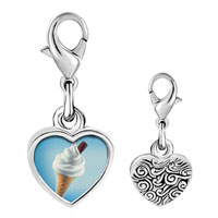Link Charm Bracelet - 925  sterling silver vanilla ice cream cone photo heart frame link charm Image.