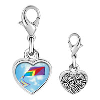Link Charm Bracelet - 925  sterling silver flying a purple kite photo heart frame link charm Image.