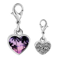 Link Charm Bracelet - 925  sterling silver tropical sunset photo heart frame link charm Image.