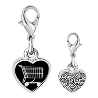 Link Charm Bracelet - 925  sterling silver shopping cart photo heart frame link charm Image.