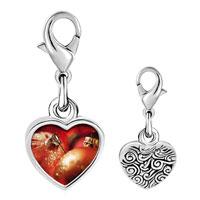 Link Charm Bracelet - 925  sterling silver christmas ornament glitter balls photo heart frame link charm Image.
