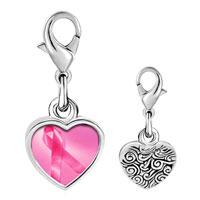 Link Charm Bracelet - 925  sterling silver breast cancer awareness pink ribbon photo heart frame link charm Image.