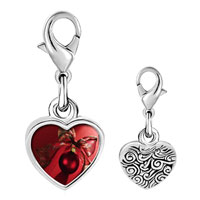 Link Charm Bracelet - 925  sterling silver red christmas ornament with ribbon photo heart frame link charm Image.