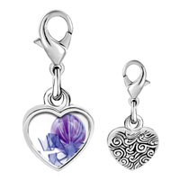 Link Charm Bracelet - 925  sterling silver purple christmas ornament with ribbon photo heart frame link charm Image.