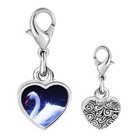 Link Charm Bracelet - 925  sterling silver swimming swan photo heart frame link charm Image.