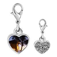 Link Charm Bracelet - 925  sterling silver tropical beach lifeguard hut photo heart frame link charm Image.