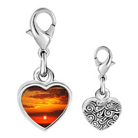 Link Charm Bracelet - 925  sterling silver sunset over the ocean photo heart frame link charm Image.
