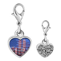 Link Charm Bracelet - 925  sterling silver american twin towers photo heart frame link charm Image.