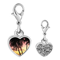 Link Charm Bracelet - 925  sterling silver palms under tropical sunset photo heart frame link charm Image.