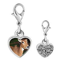Link Charm Bracelet - 925  sterling silver deer in the trees photo heart frame link charm Image.
