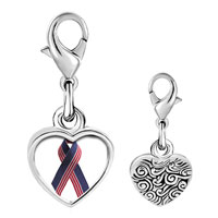 Link Charm Bracelet - 925  sterling silver usa flag ribbon photo heart frame link charm Image.