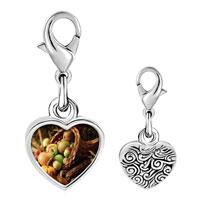 Link Charm Bracelet - 925  sterling silver thanksgiving horn of plenty photo heart frame link charm Image.