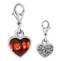 Link Charm Bracelet - 925  sterling silver smiling jack o lanterns photo heart frame link charm Image.