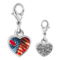 Link Charm Bracelet - 925  sterling silver usa flag mask photo heart frame link charm Image.