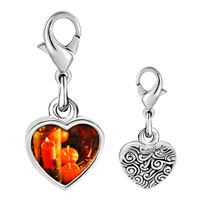 Link Charm Bracelet - 925  sterling silver jack o lantern halloween pumpkin and candle thanksgiving decorationsphoto heart frame link charm Image.