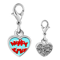 Link Charm Bracelet - 925  sterling silver happy xmas photo heart frame link charm Image.