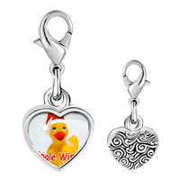 Link Charm Bracelet - 925  sterling silver jingle wingle rubber ducky santa photo heart frame link charm Image.