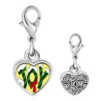 Link Charm Bracelet - 925  sterling silver snow covered joy photo heart frame link charm Image.