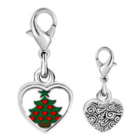 Link Charm Bracelet - 925  sterling silver red heart christmas tree photo heart frame link charm Image.