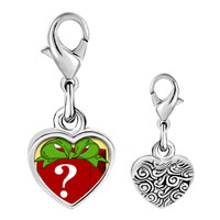 Link Charm Bracelet - 925  sterling silver mystery gift box photo heart frame link charm Image.