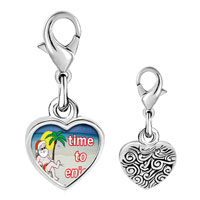 Link Charm Bracelet - 925  sterling silver santa at the beach photo heart frame link charm Image.