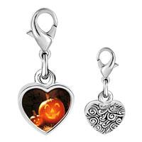 Link Charm Bracelet - 925  sterling silver smiling jack o lantern halloween pumpkin face lanterns photo heart frame link charm Image.
