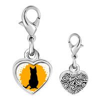 Link Charm Bracelet - 925  sterling silver black cat silhouette photo heart frame link charm Image.