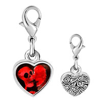 Link Charm Bracelet - 925  sterling silver halloween death skeleton photo heart frame link charm Image.