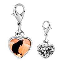 Link Charm Bracelet - 925  sterling silver black catphoto heart frame link charm Image.