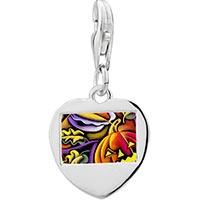 Link Charm Bracelet - 925  sterling silver art jack o lantern halloween pumpkinphoto heart frame link charm Image.