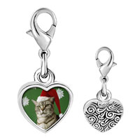 Link Charm Bracelet - 925  sterling silver christmas cat looking good photo heart frame link charm Image.