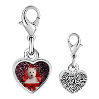 Link Charm Bracelet - 925  sterling silver puppy christmas gift photo heart frame link charm Image.