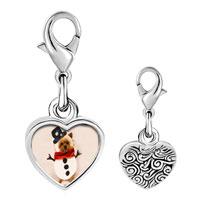Link Charm Bracelet - 925  sterling silver puppy snowman photo heart frame link charm Image.
