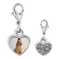 Link Charm Bracelet - 925  sterling silver shaggy santa dog photo heart frame link charm Image.