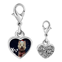 Link Charm Bracelet - 925  sterling silver is it christmas yet photo heart frame link charm Image.