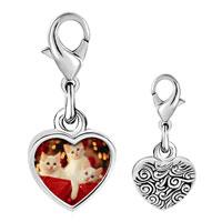 Link Charm Bracelet - 925  sterling silver christmas gift kittens photo heart frame link charm Image.
