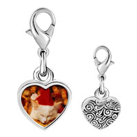 Link Charm Bracelet - 925  sterling silver sleeping santa kitten photo heart frame link charm Image.