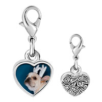 Link Charm Bracelet - 925  sterling silver pug dog christmas rudolph reindeer photo heart frame link charm Image.