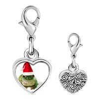 Link Charm Bracelet - 925  sterling silver santa frog photo heart frame link charm Image.